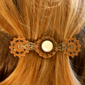 Metal Head Zombie Hunter medium hair clip steampunk goth style. Unique handmade artisan accessory. Wearable Art