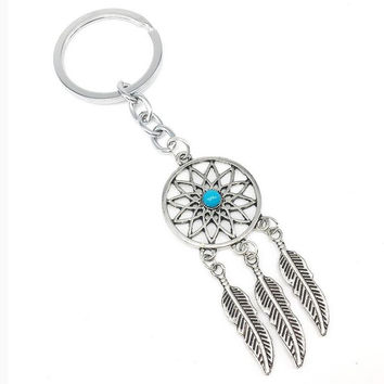 Fashion Vintage Silver Dream Catcher Charms Turquoise Beads KeyChain