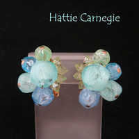 Carnegie Cluster Bead Earrings - Vintage Pastel Lucite Beaded Clip-on Earrings, Gift for Her