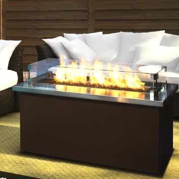 Firegear Key West Propane Gas Fire Pit Coffee Table With Stainless Steel Top