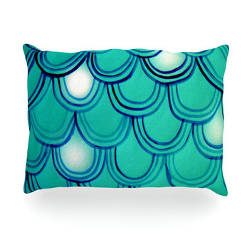 "Theresa Giolzetti ""Mermaid Tail"" Teal Blue Oblong Pillow"