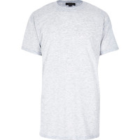 River Island MensGrey marl short sleeve longer length t-shirt