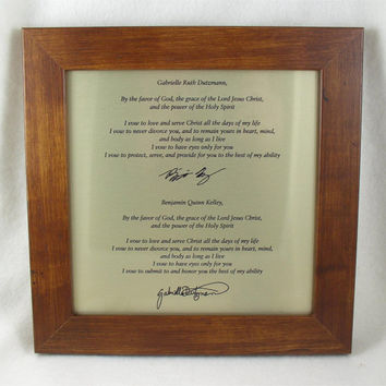 Wedding Vows or Invitation Engraved in Leather or Metal