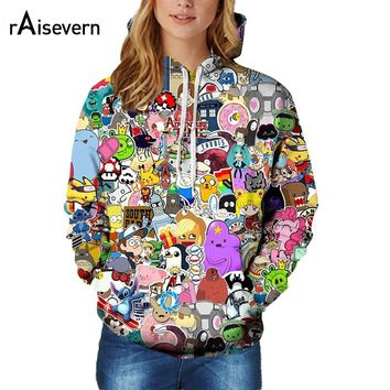 Raisevern New Fashion 3D Hoodie Adventure Time Cute Anime Character Full Printed 3D Hood Sweatshirts Harajuku Outfit Hoody Tops