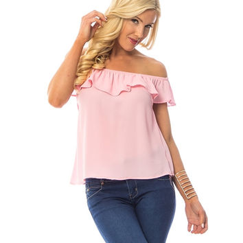 Powder Pink Ruffled Off The Shoulder Blouse
