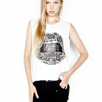 Lauren Moshi Riley Sleeveless Muscle Tee in White | Boutique To You
