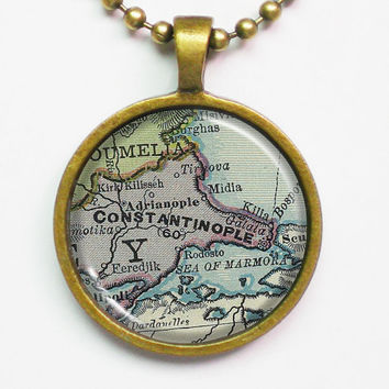 Vintage Map Necklace - Constantinople, Istanbul, Rome, Turkey -Vintage Map Pendant Series
