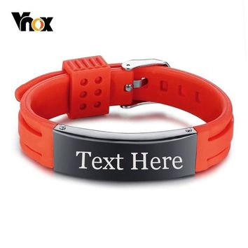 Vnox Mens Silicone Sport ID Bracelets for Women Custom Engraving Name Plate Unisex Strap Bracelet -Choose Your Color