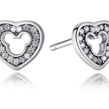 925 Sterling Mickey Mouse Shape Stud Earrings