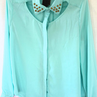 Cut-out Studded Collar Blouse