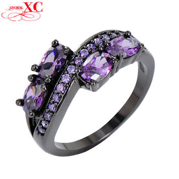 11 Amethyst Crystal Stone Rings For Women Elegant Black Gold Filled Cubic Zircon Ring Birthday Engagement Jewelry Anel RB0033