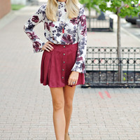 Brodie Faux Suede Button Down Skirt: Wine