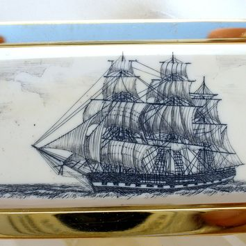 Vintage Barlow Money Clip Scrimshaw Art Constitution Ship
