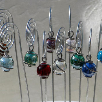Spiral Table Number, Photo or Card Holders, Plant Picks, in Silver/Steel with Wire Wrapped Glass Marble Prisms