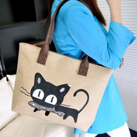 Free Shipping ! New Fashion Women Canvas Bag Cute Cat Shoulder Bag Office Lunch 4 Colors Bag bolso de las mujeres BETTER for you