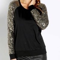 Picture Perfect Sequined Top - Black