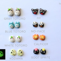 ULTIMATE Studio Ghibli Lover Earring Collection- Polymer Clay Totoro/Mononoke- Kodama/Jiji/Spirited Away- No-face/Calcifer/Soot Sprites