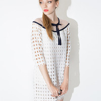 White Half Sleeve Cut-Out Mesh Embroidered Mini Dress