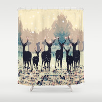 Deer in the snowy forest Shower Curtain by Cindys