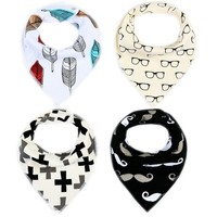 4pcs/lot Baby Bibs Bandana Cotton Cartoon Saliva Towel For Boys And Girls Newborns Infant Babadores Para Bebe TS65