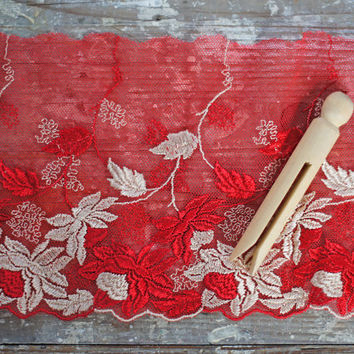 "Vintage Lace Border Trim, Red & Cream Floral Brocade Netting Lace 5"" wide, sumptious embroidered flowers lace border or edging trim"
