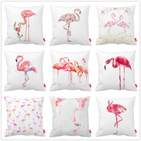 Watercolor Painting Flamingos Pillowcase Variety