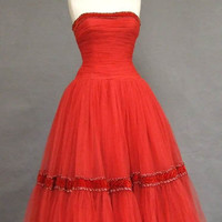 Stunning Ruby Tulle 1950's Prom Dress w/ Velvet Trim VINTAGEOUS VINTAGE CLOTHING
