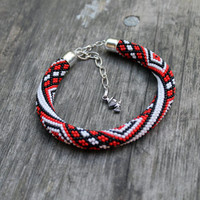 Rope bracelet colorful - red, white, black beaded bracelet - geometric bracelet - classic color charm - handmade jewelry.