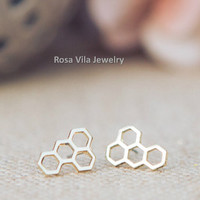 Honey Comb Earrings - Gold and Silver; cute and simple honey comb stud earrings; minimalist studs; Tiny mini earrings