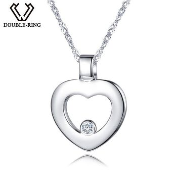 DOUBLE-R Women 0.03ct Diamond Heart Pendants Female 925 Sterling Silver Necklaces Romantic Gift Genuine Jewelry CAP03745SA-1
