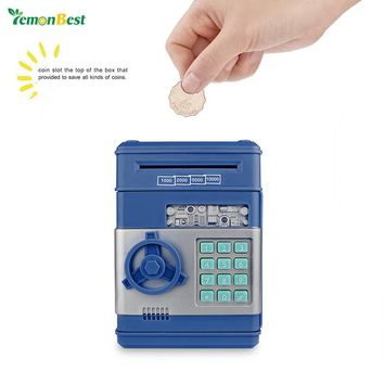 LemonBest Electronic Password Money Saving Box Coins Saving ATM Bank Safe Box Toy Automatic Deposit Banknote Children's Gift