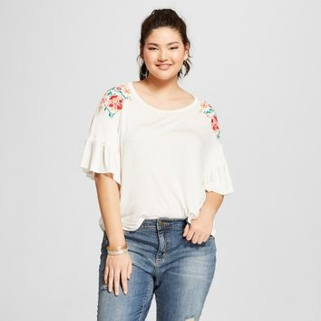 Women's Plus Size Floral Print Short Sleeve Embroidered Shoulder Knit T-Shirt - Xhilaration™ White
