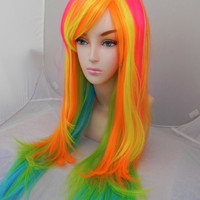 Hot Pink, Orange, Yellow, Green, Blue / Long Straight Layered Wig