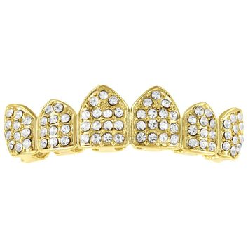 Iced Out Crown Style Designer Top Teeth Men's Grillz