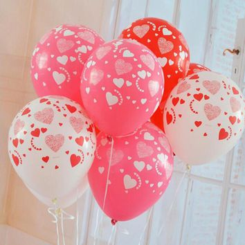 10pcs/lot 12 Inches Printed Full Heart Balloon High Quality Wedding Marry Valentine Balloons Decoration Party Supplies