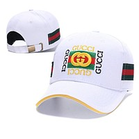 GUCCI Summer Popular Couple Embroidery Sports Sun Hat Baseball Cap Hat White