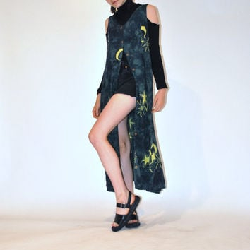 tie dye duster dress / ESOTERIC sun moon and stars button down WITCHY 90s GRUNGE hippie boho long dress