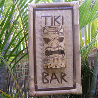 "BAMBOO TIKI SIGN ""TIKI BAR"" W/ TIKI MASK - TIKI BAR DECOR"