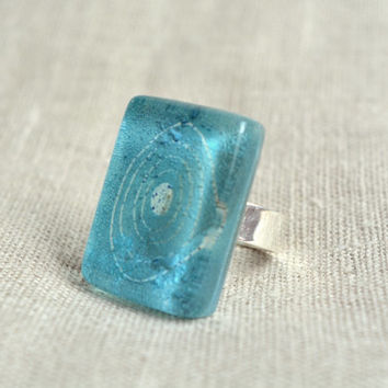 Turquoise ring - Fused glass ring - Aqua ring - Adjustable glass ring - Fused glass jewelry - Rectangular  Summer ring - Blue statement ring