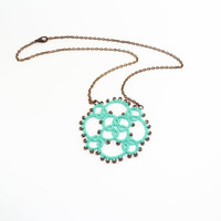 Aqua mint green  lace necklace  - Fashion textile jewelry