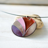 Big enamel necklace - handmade OOAK necklace - cloisonne enamel - purple pink necklace - artisan jewelry by Alery