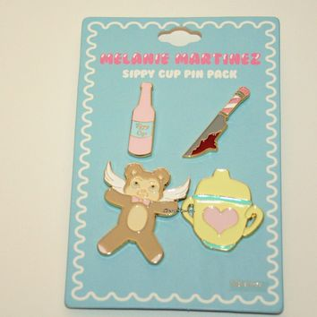 Licensed cool Melanie Martinez Sippy Cup Enamel Pin 4 Pack Knife Bear Wings Syrup Licensed NEW