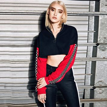 Pullover Hot Sale Crop Top Zippers Patchwork Tops Hoodies [1447966179425]