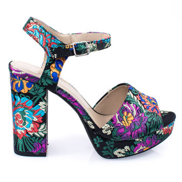Author Crown Black Print Women Floral Embroidered Printed Chunky Block Heel, Platform Dress Sandal