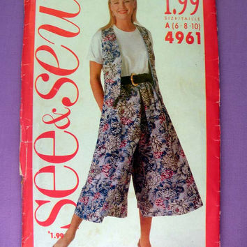 Women's Vest and Culottes Misses' Size 6, 8, 10 Butterick See & Sew 4961 Sewing Pattern Uncut