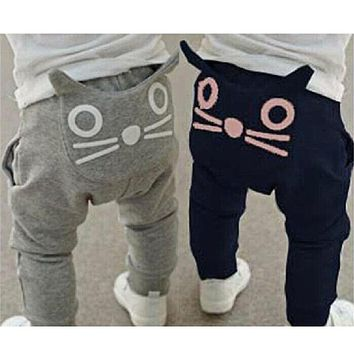 Retail 2017 Spring Autumn Kids Clothing Boys Girls Harem Pants Cotton Owl Trousers Baby Pants Fall Children Long Casual Trousers