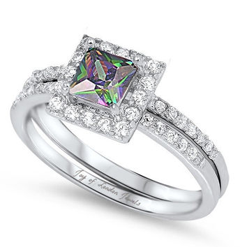A 2CT Princess Cut Rainbow Topaz Halo & Russian Lab Diamond Bridal Set Ring