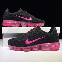 NIKE AIR VAPORMAX FLYKIT Fashion Flats Sport Shoes Running Sneakers Black Rose Soles G-CSXY