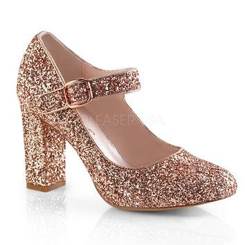 Fabulicious Rose Gold Glitter Mary Jane Pumps