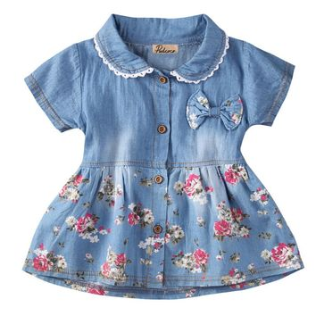 Summer kids jeans dress Infant Baby Girls Floral Dress Bowknot Sundress Clothes 0-4Y